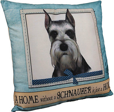 Schnauzer Pillow 16×16 Polyester Cropped