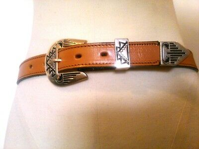 Vintage Tex Tan Cowhide USA Men's 30 Southwestern Leather Belt Silver Buckle