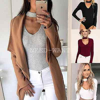 UK Womens Ribbed Back Plunge Stretch Leotard Tops Knitted Jumper Bodysuit 6-14