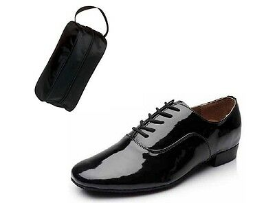 Men's Black Patent Leather Ballroom Dance Shoes Brand New With Shoe Bag