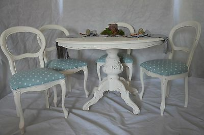 Shabby Chic French Louis Style Round Dining Table & 4 Chairs Made To Order