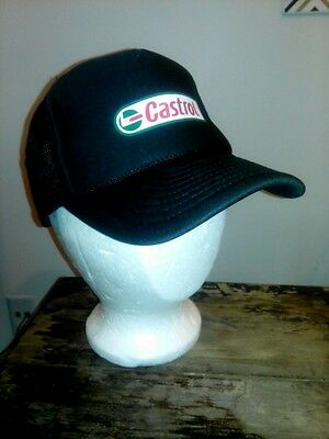 Vtg NOS Printed Graphic Castrol Mesh Snap Back Trucker Hat Baseball Cap