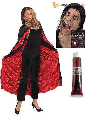 Ladies Hooded Vampire Cape + Fangs Blood Adults Halloween Fancy Dress Costume