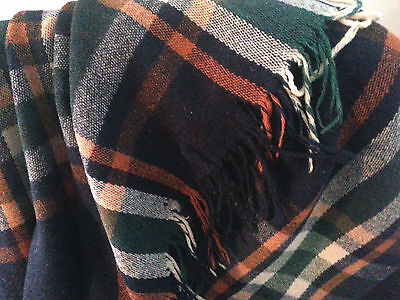 "Vintage HUGE Wool Blanket/Throw/Rug Plaid 80x60"" plaid rust/black/green/ivory"