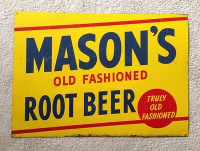 "Rare Original Vintage 27"" Mason's Root Beer Tin General Store Advertising Sign"