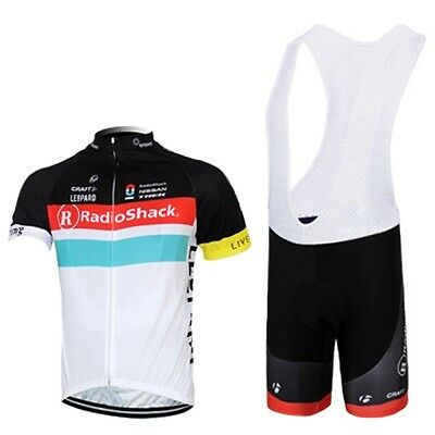 2015 Mens Cycling Team Short Sleeve Bicycle Jersey + Bib Shorts Set - SIZE M