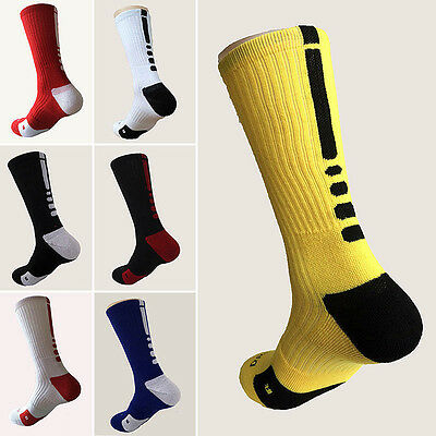 Men's Cotton Cushioned Crew-Athletic Dri-Fit Basketball Football Sports Socks