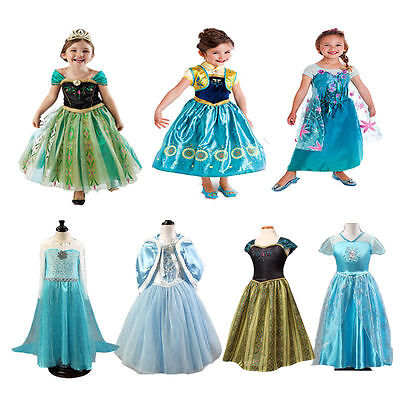 Princess Dress Girls Party Fancy Dress for Halloween Anna Elsa Cosplay Costume