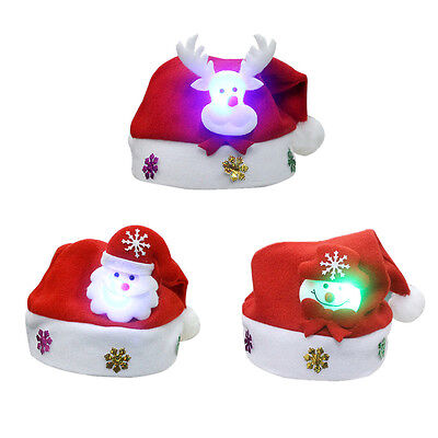 1 Pc LED Santa Claus Christmas Decor Hat Glowing XMAS Tree Snowman Toys Gifts