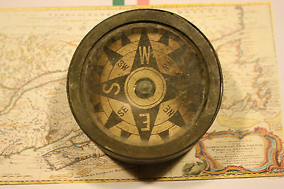 Antique Marine Brass Compass Working - Small Boat Or Dory Compass - Lots Of Wear