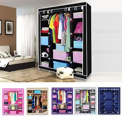 Triple Door Multiple Canvas Wardrobe with Hanging Rail Home Furniture Storage