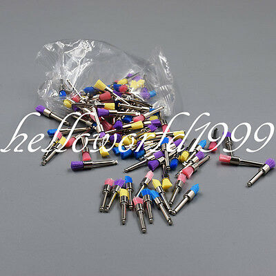 100 Pcs Mixed Color Nylon Latch Flat Dental Polishing Polisher Prophy Brush Cup