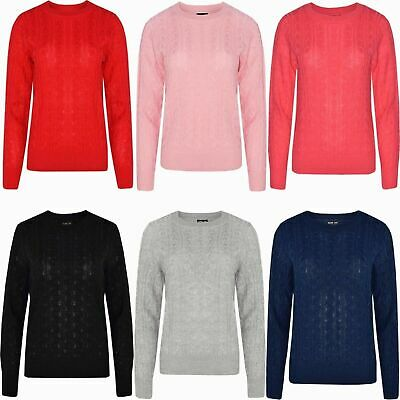 Ladies Womens Cable Knit Long Sleeve Knitted Jumper Sweater Top Quality Winter
