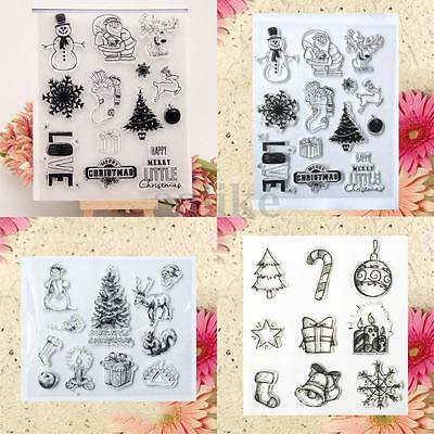 Christmas Black Rubber Clear Stamp Cling Set Scrapbooking Transparent Card Craft