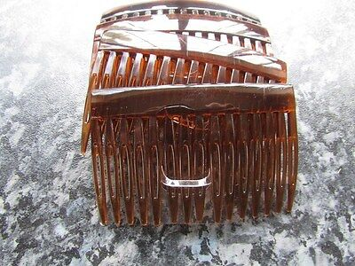 pack 4 hair combs tort brown plain plastic slides 7cm black clear grip comb