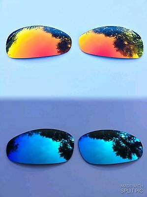 Polarized Fire Red & Ice Blue Custom Mirrored Replacement Oakley Juliet Lenses