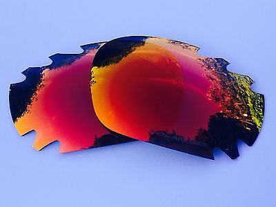 Engraved Polarized Fire Red Mirror Vented Oakley Jawbone & Racing Jacket Lenses