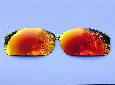 Engraved Polarized Fire Red Mirrored Replacement Oakley Flak Jacket Lenses