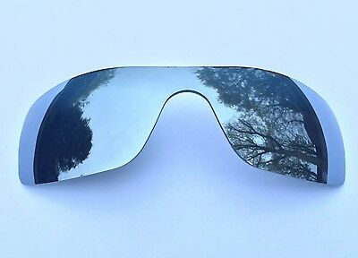 New Polarized Silver Mirrored Replacement Oakley Batwolf Lens,  Free Carry Pouch