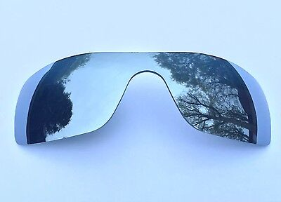 Polarized Silver Mirrored Replacement Oakley Batwolf Lens,  Free Carry Pouch