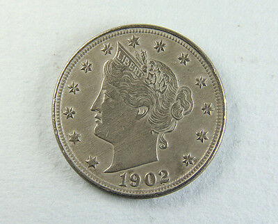 1902 USA 5 Cents coin; Old album collection!