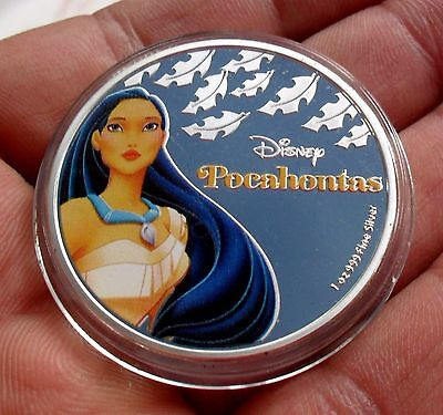 New Zealand 2016 Silver Plate Disney Princess Pocahontas Coin In Capsule