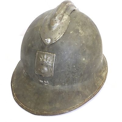 Vintage French WW1 Military Army Helmet Flaming Grenade DP