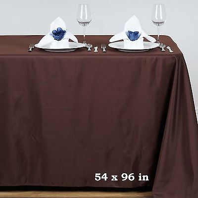 "Chocolate Brown POLYESTER 54x96"" RECTANGLE TABLECLOTHS Wedding Party Linens SALE"