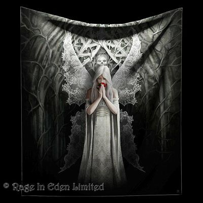 ONLY LOVE REMAINS Soft Feel Angel Red Rose Throw Blanket By Anne Stokes (160cm)