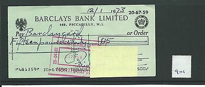 wbc. - CHEQUE - CH901 - USED -1970's - BARCLAYS, PICCADILLY, LONDON W1