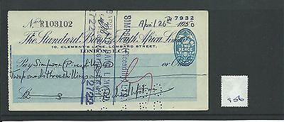 wbc. - CHEQUE - CH906 - USED -1950 -STANDARD Bk of SOUTH AFRICA, LOMBARD ST. EC4