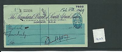 wbc. - CHEQUE - CH907 - USED -1949 -STANDARD Bk of SOUTH AFRICA, LOMBARD ST. EC4