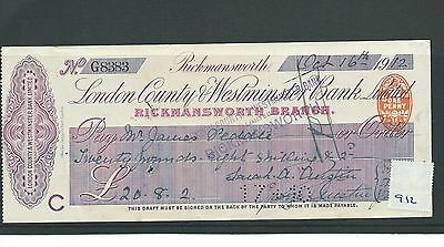 wbc. - CHEQUE - CH912 - USED -1912 - LONDON COUNTY & WESTMINSTER, RICKMANSWORTH