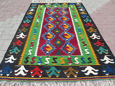 "Vintage Turkish Wool Rug,Antalya Small Kilim 49,2"" x 74,8"" Arearugs,Kelim,Carpet"