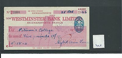 wbc. - CHEQUE - CH925 - USED -1946 - WESTMINSTER BANK, RICKMANSWORTH