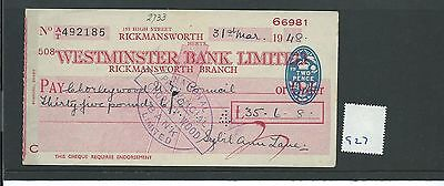 wbc. - CHEQUE - CH927 - USED -1948 - WESTMINSTER BANK, RICKMANSWORTH