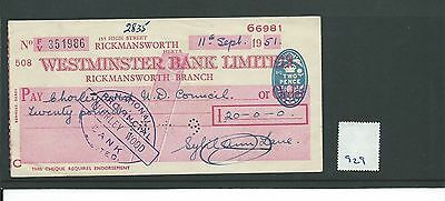 wbc. - CHEQUE - CH929 - USED -1951/52 - WESTMINSTER BANK, RICKMANSWORTH