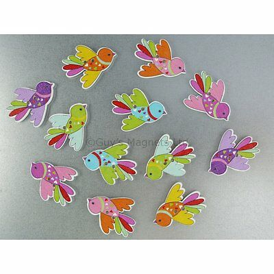 Flying Bird Fridge Magnets cute strong neodymium painted wood - 4 gift boxed