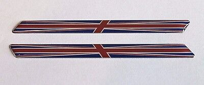 SLIMLINE UNION JACK FLAGS - HIGH GLOSS DOMED GEL Red/Blue/Chrome Stickers/Decals