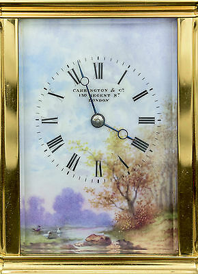 Corniche cased carriage clock with 4 panels of country scenes. with box ~ 1890