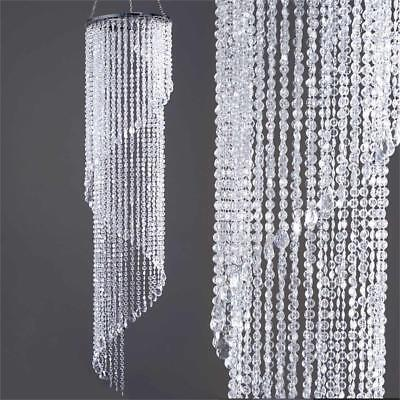 "CLEAR 72"" tall Faux Crystal Beaded Chandelier Wedding Party Decorations SALE"