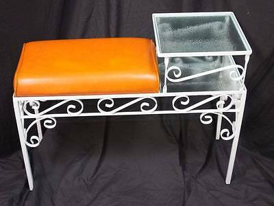1960's WHITE METAL WARE HALL PHONE TABLE/ BENCH With a ORANGE CUSHIONED SEAT