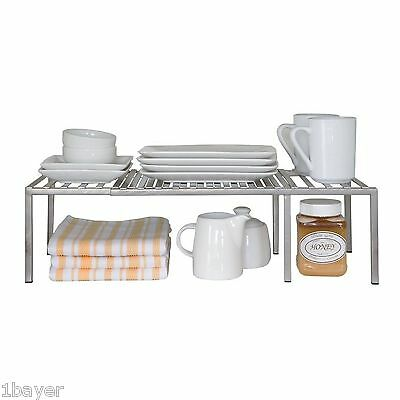 Seville Classics Expandable Kitchen Counter Storage Organizer Cup Plate Shelf