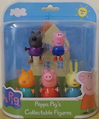 Peppa Pig Collectable Figures 5 Pack ~ Danny Dog, George, Candy, Peppa & Rebecca