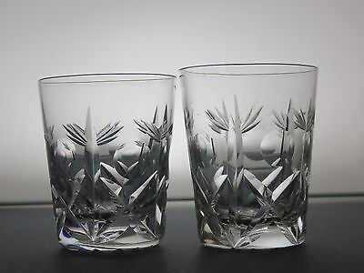 2 Brierley Hill Crystal Cross & Hollow Pattern Whisky Tumblers Whiskey Glasses
