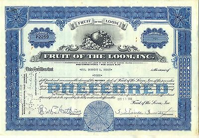 Fruit of the Loom, Inc. Stock Certificate Blue Berkshire Hathaway