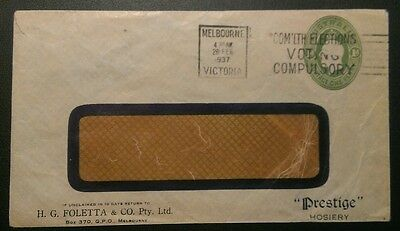 AUSTRALIA 1937 KGV 1d GREEN PRESTIGE ADVERTISING COVER
