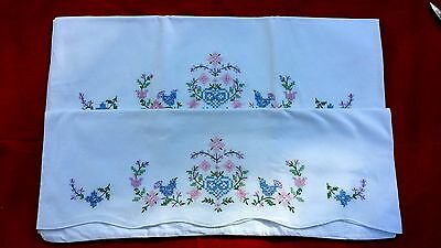 Pair Vintage Hand Embroidery Blue Bird Pillowcases Free Shipping