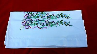Pair Vintage Hand Embroidery Purple Blue Floral Pillowcases Free Shipping