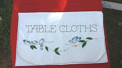 Vintage Hand Embroidery Blue Bird Tablecloth Cover Free Shipping